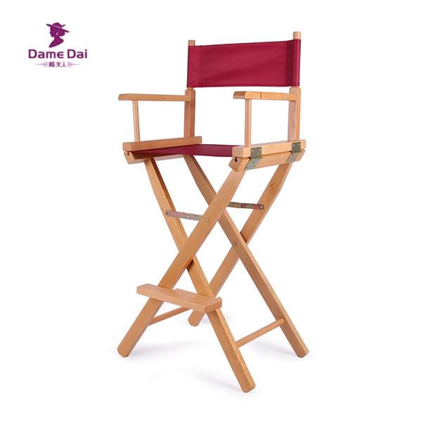 Bar Height Director Chair Natural/Black Frame with Cavans Garden Furniture Wooden Portable Folding High Director Chair Wood