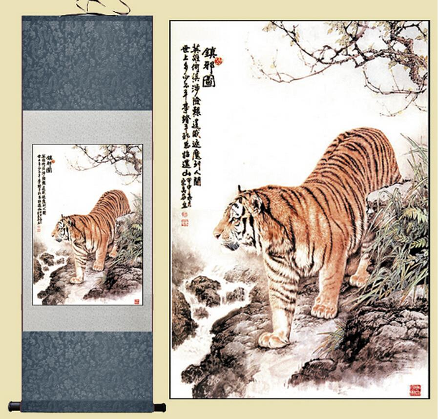 Tygr umění malba Čínské umění malba Home Office dekorace Čínská malba krále lesní malby