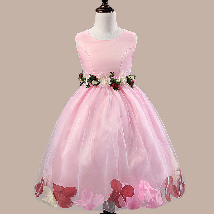 2017 Wedding Pageant Flower Petals Girl Dress Sleeveless Princess Deguisement Pretty Rose Petal wedding Dresses 1-10 Years