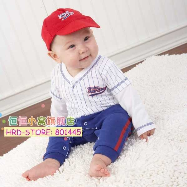 2011 Autumn Baby Boy Blue&White Stripe Golf Apparels Rompers for 1~4Y retail free shipping drop shipping