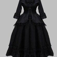 Готический черный хлопок Кружево Британский викторианской эпохи платье сценический костюм платье