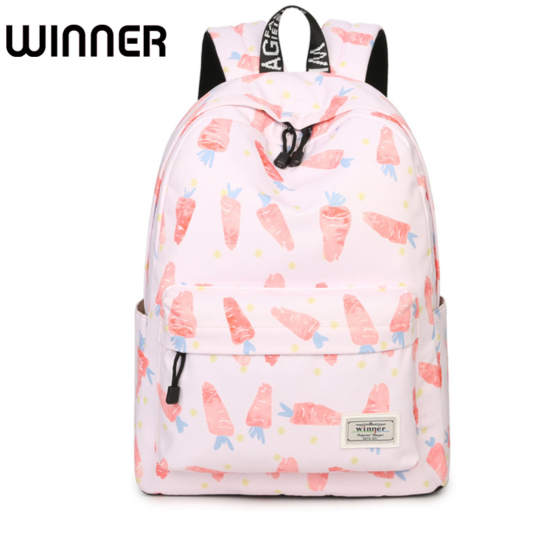 Waterproof Pink Carrot Printing Backpack Women Air Cushion Straps Bookbag Daily Korean Laptop Knapsack School Bag for Girls