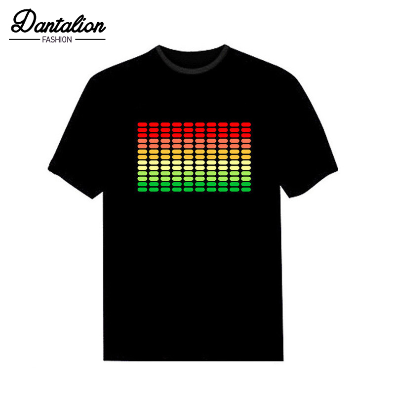 2018 Sale Sound Activated LED   T     Shirt   Light Up and down Flashing Equalizer EL   T  -  Shirt   Men for Rock Disco Party DJ   T     shirt