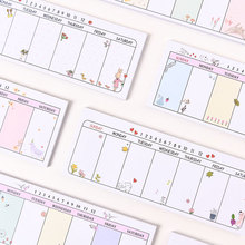 1pc Creative Planner Diary Memo Pads Stationery Cartoon Post-it Notes Week Plan Scratchpad