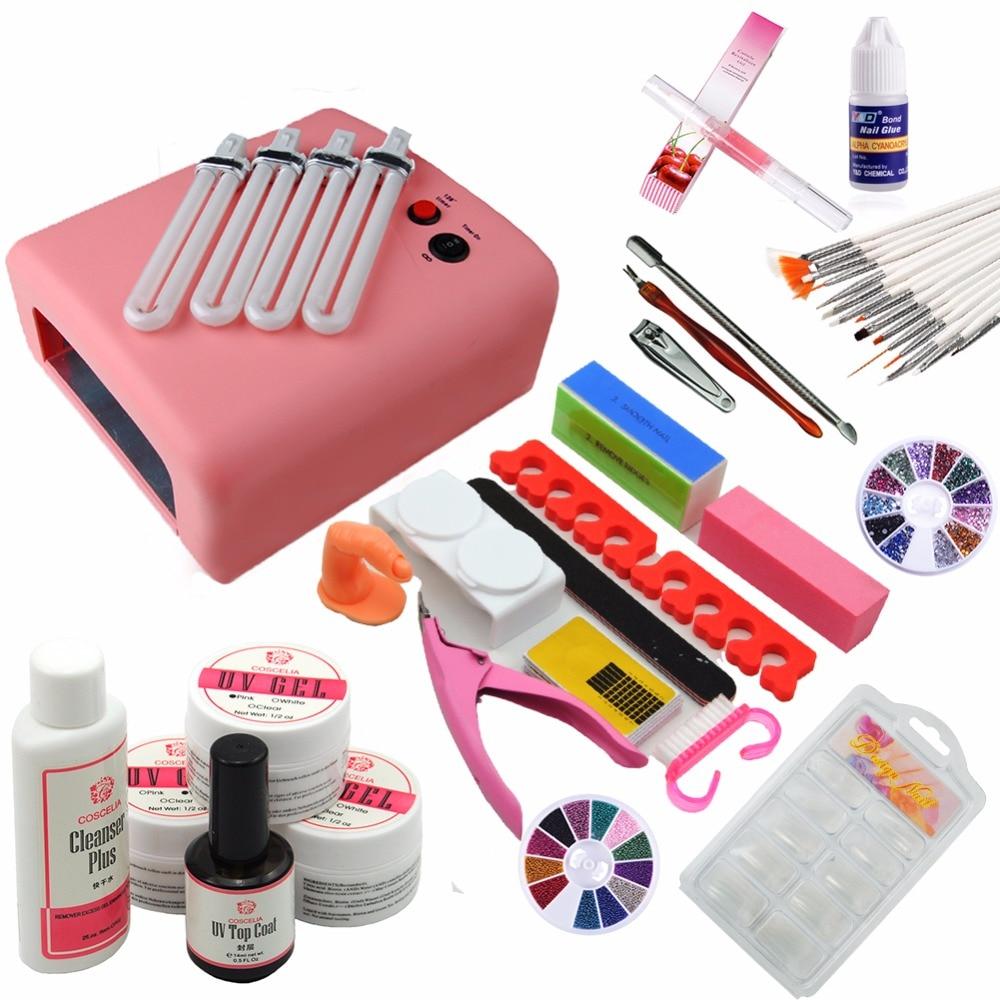 Best Gel Nails Set: Manicure Set 36W UV Lamp Nail Gel Polish Set UV Gel Base