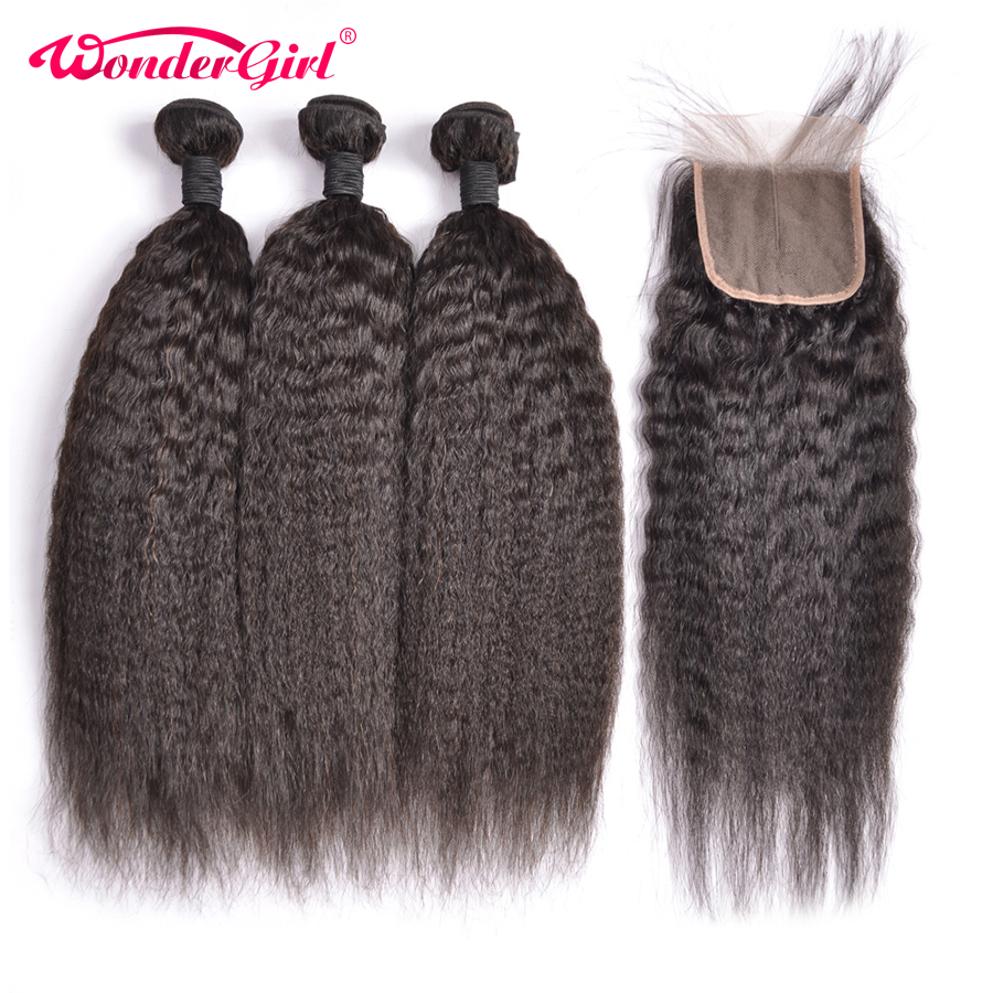 Peruvian Kinky Straight Hair Bundles With Closure Remy Human Hair Bundles With Closure Can be processed