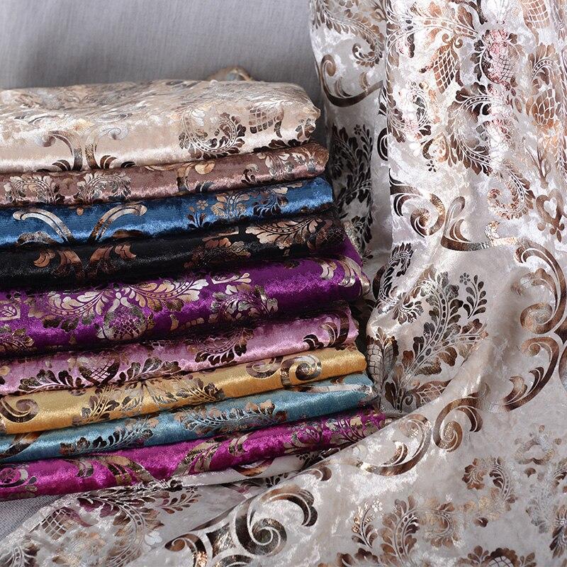1 mètre de luxe doux velours Jacquard Chenille Tissu d'ameublement fleurs pour canapé oreiller coussin salle à manger chaise Tissu Tela Tissu