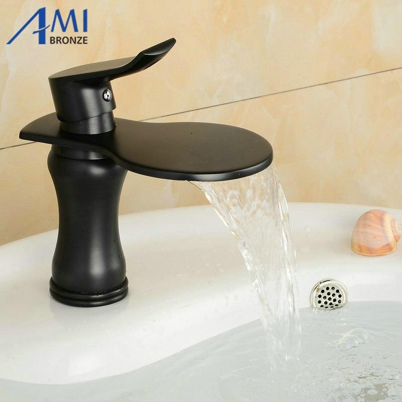 Blackened Bronze Faucets Newly Art Contemporary Bathroom Basin Faucet Brass Mixer Tap Waterfall 6085/6086