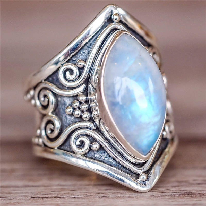 Boho Antique Indian Moonstone Ring Vintage Silver Color ...