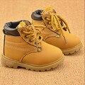 2016 NUEVOS niños Calientes Del Invierno botas de Nieve Para Niños Antideslizantes Calientes Inferior Músculo de la Vaca Botas de nieve Niño Vaca Zapatos de Cuero Tamaño 21-30