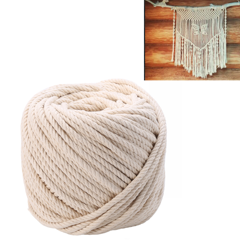 4MM and 5MM in 50M Plant Hanger Craft Making Wall Hanging 80M and 100M Lengths Natural Cotton for Macram/é Knitting Cord Rope with Natural Color 3MM
