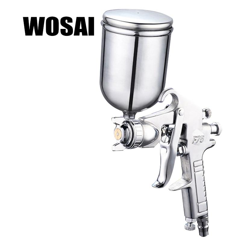 WOSAI 400ML Pneumatic Spray Gun Airbrush Sprayer Alloy Painting Atomizer Tool With Hopper For Painting Cars F75 стоимость