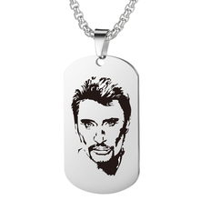 цена Personalized Engrave Johnny Hallyday Photo Punk Rock Necklace Custom Stainless Steel Chain Pendant Female Male bijoux