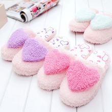 Love bag with cotton shoes autumn and winter warm ladies home floor silent non-slip soft bottom peach heart month cotton slipper недорго, оригинальная цена