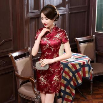 Burgundy #Traditional #Chinese Style #Cheongsam Women's Mini #Qipao #Dress #fashion #boygrl
