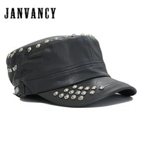Janvancy 7-7 1/8フラット帽子puレザーキャップ用女