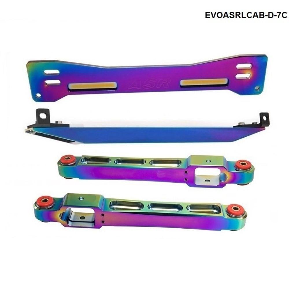 Neo Chrome Rear Lower Control Arm Subframe Brace Tie Bar For 1997-2001 Mitsubishi Mirage TK-EVOASRLCAB-D-7C