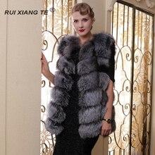 women real fur coat real fox short block vest autumn and winter outerwear natural fox ladies round neck gilet fahion artificial fur gilet outerwear