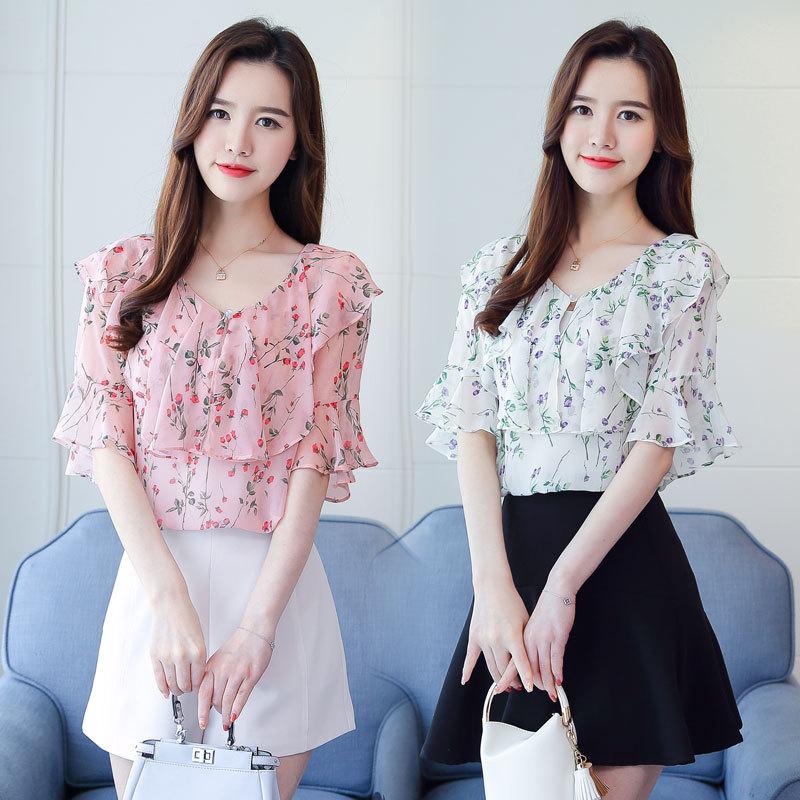 Summer Floral Print Chiffon Blouse Ruffled Collar V Neck Shirt Petal Short Sleeve Chiffon Tops Plus Size Blusas Femininas