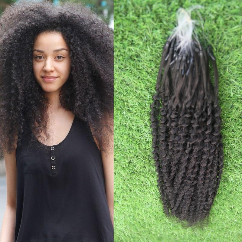 Afro Kinky Curly Micro Loop Hair Extensions Virgin Micro Loop Hair