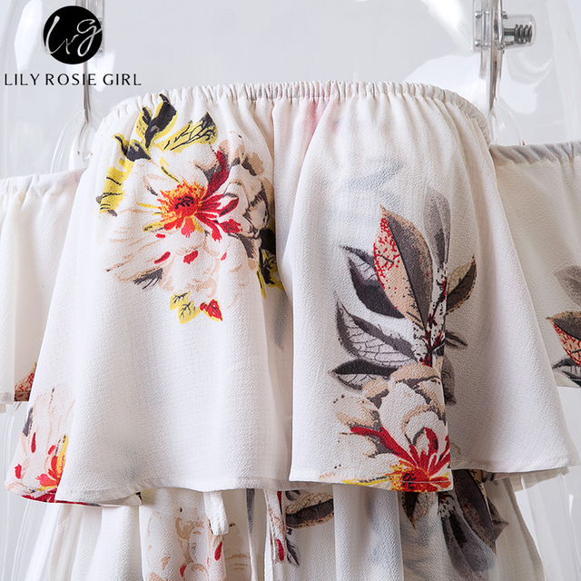 Lily Rosie Girl Boho White Floral Off Shoulder Ruffles Playsuits Women Backless Sexy Summer Beach Jumpsuit Short Rompers Overall