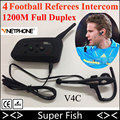 100% Original Vnetphone Football Referee Intercom Headset Earpiece 4 Referees 1200M Full Duplex Wireless Bluetooth Interphone