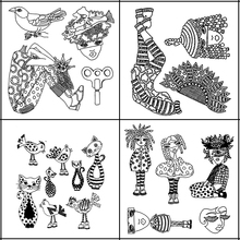 AZSG Strange Woman/Lovely Cat/Dropper/Scarecrow Clear Stamps For DIY Scrapbooking/Card Making Decorative Silicone Stamp Crafts