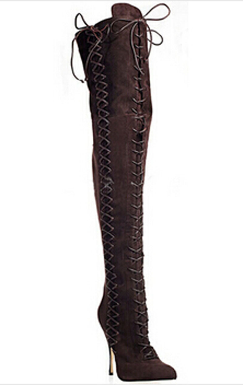 New Sexy Leopard Printed Toe Over the Knee Boots Woman Winter Thigh High Long Boots Gladiator Cross Strappy Lace-up Botas Mujer