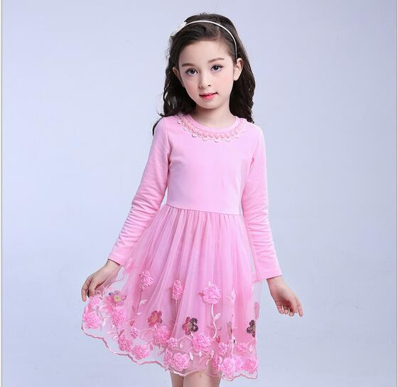 4-13Y Girl Cotton Tulle Dress 2017 Autumn Children Party Dresses Fashion Girl Fall Dress Embroidery Childrens Clothes 5
