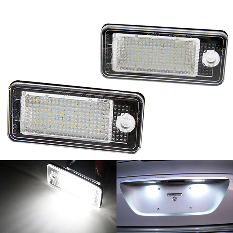 2pcs/set Canbus Error free 18 SMD LED License Plate Light Number Plate Lamp White 6000k for Audi A3 S3 A4 S4 A5 S5 B6 B7 A6 A8 2x e marked obc error free 24 led white license number plate light lamp for bmw e81 e82 e90 e91 e92 e93 e60 e61 e39 x1 e84