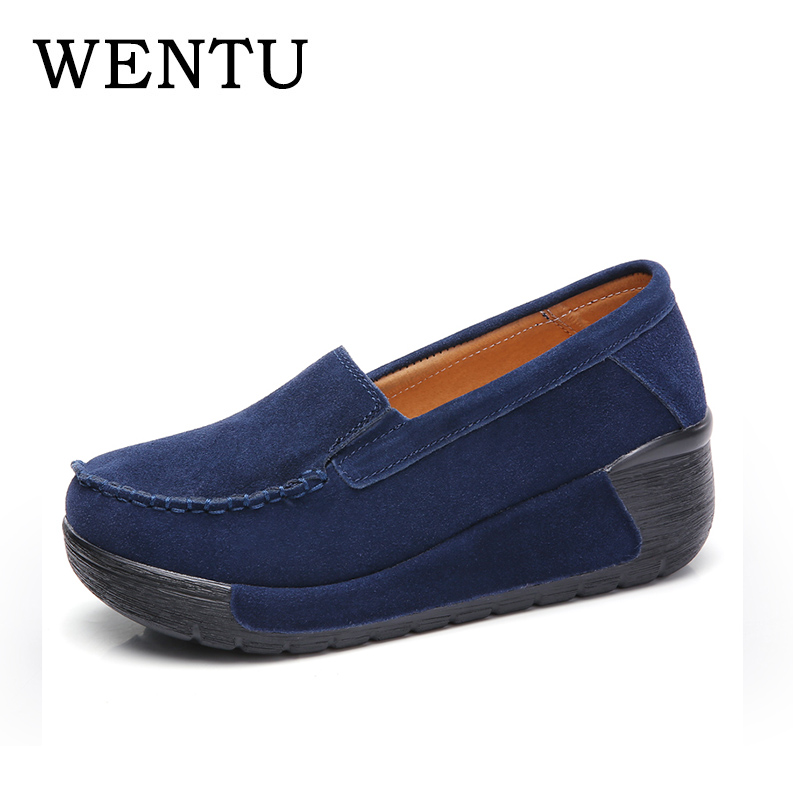 WENTU Women Flats Shoes Casual Sneakers Platform Leather Shoes Woman Slip On Flats Moccasins Plus Size 42 Autumn Shoes For Women genuine suede leather women s platform sneakers 2018 women slip on flats creepers moccasins woman casual shoes black pink gray