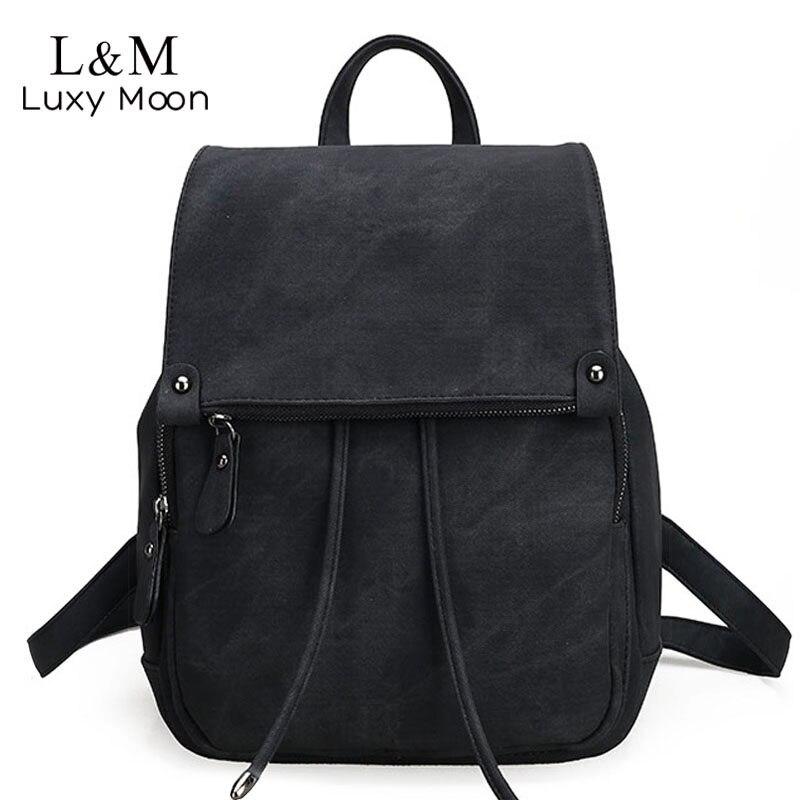 874b13507ace Women Leather Backpack Large Black Drawstring Backpacks For Teenage Girls  Students School Bag Gray Fashion Travel
