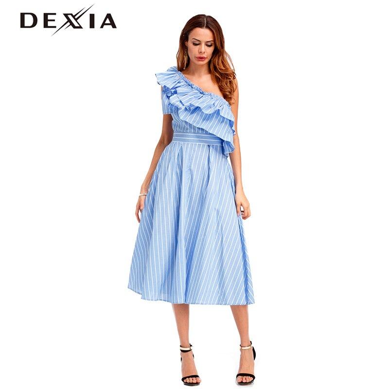 Dexia Vogue Une Épaule À Volants Robe D'été Parti Élégant Femmes Sexy Taille Haute Poche Sans Manches Une Ligne Robe Robe Longo