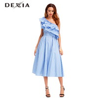 Dexia Vogue One Shoulder Ruffle Summer Dress Party Elegant Women Sexy High Waist Pocket Sleeveless A