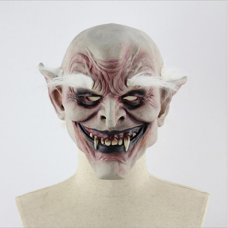 Scary Latex Halloween Mask White Browed Old Demon Cosplay