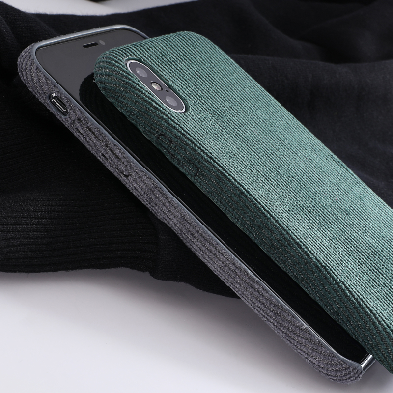 SoCouple Plush Fabrics Phone Case For iphone X 7 8 6 6S plus Case For iphone Xs max XR Cloth Texture Soft Back Cover Capa Fundas (4)