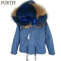 brand 2018 new winter blue denim winter jacket women parka fur coat outerwear real natural raccoon fur collar hooded warm parkas