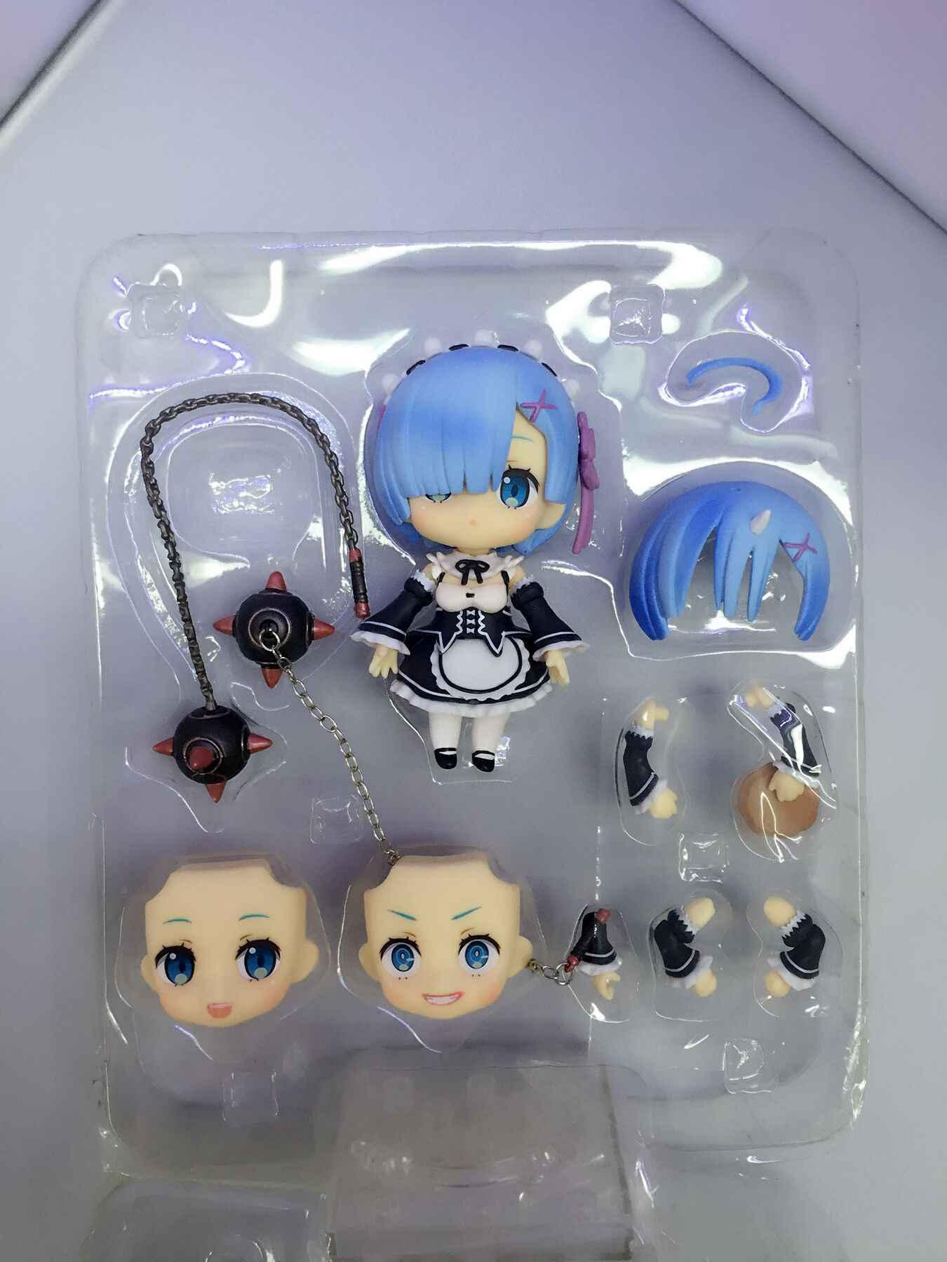 Anime re: a vida em um mundo diferente de zero nendoroid 663 azul rem & 732 vermelho ram kawaii bonito figura de ação brinquedos 10cm