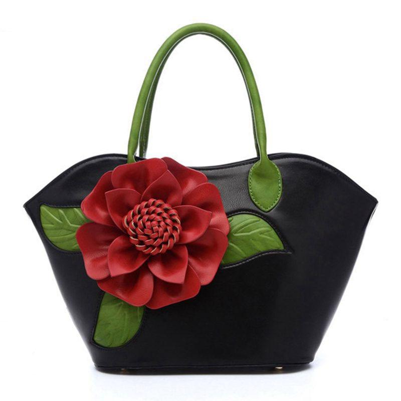 Flower Women Handbags PU Leather Shoulder Bag For Female Designer Printing Ladies Bag Famous Brand Tote