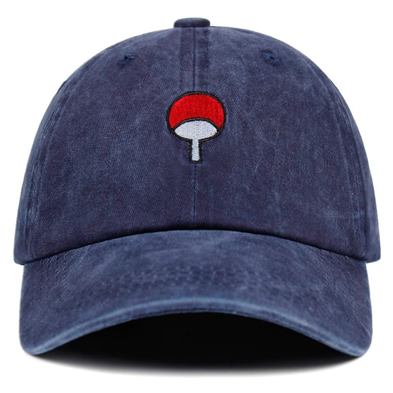 Washed denim Dad Hat Uchiha Family Logo Embroidery   Baseball     Caps   Snapback Hats Hip Hop   Cap   Hat Bone