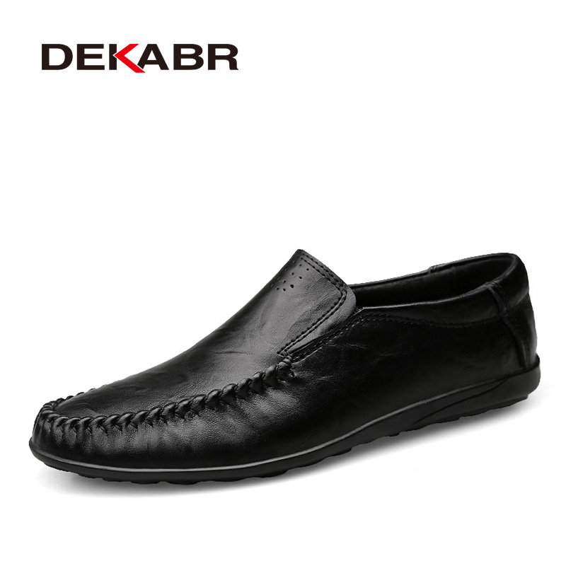 DEKABR Genuine Leather Men Casual Shoes Breathable Spring Summer Brand Handmade Loafers Driving Men Shoes Plus Big size 36~47