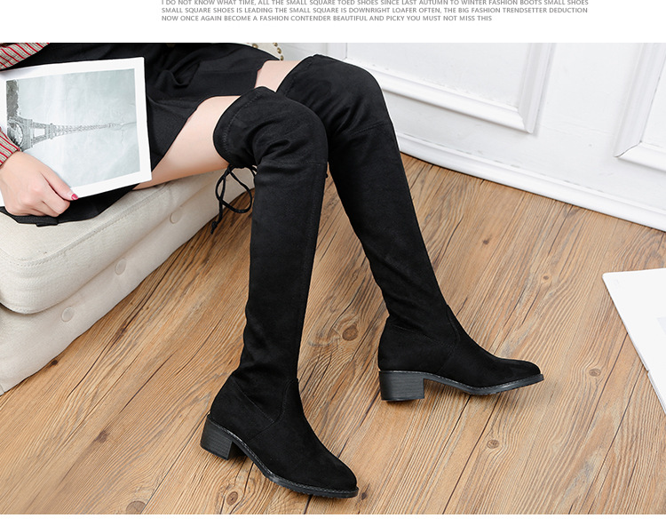 4117e72431e6ca Bottes noeud gris Over argent Carré Papillon genou Femmes Noir Rond Talon  Cuissardes D'hiver Chaussures Microfibre ...