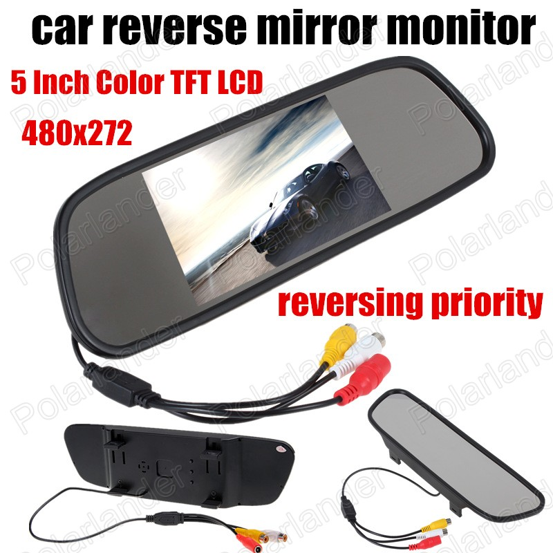 Hot sell 5 inch Color TFT LCD Car reverse Mirror Monitor 480x272 auto vehicle Mirror Monitor Backup Camera reversing priority image