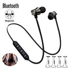Spor koşu Bluetooth kulaklık kablosuz kulaklık mikrofonlu kulaklıklar bas Stereo manyetik Bluetooth kulaklık cep telefonu için