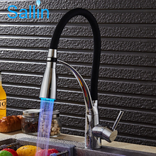 LED Kitchen Faucet Deck Mounted Sink Faucet Mixer Single Handle Swivel Kitchen Tap Spray Head  Pull Down Kitchen Crane