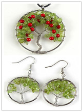 Kraft-beads Silver Plated Wire Wrap Tree of Life Pendant Olivine Earrings For Anniversary Jewelry Sets