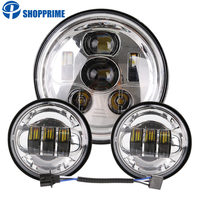 7inch LED Headlight , 4.5inch Halo Fog Lights , Adapter Ring for Harley Touring Electra Glide Road King Street Glide