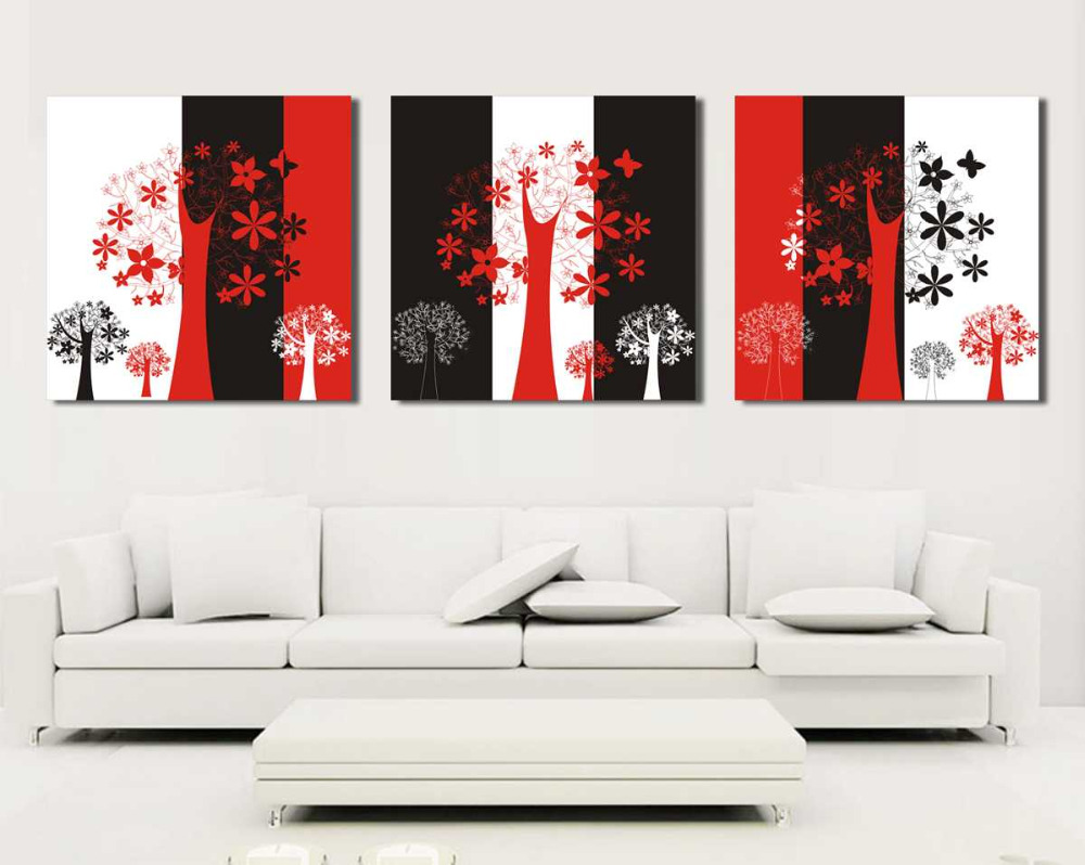 Unframed Abstract black and red white still life 3 panels canvas wall art tree oil paintings for living room pictures in Painting Calligraphy from Home Garden