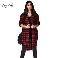 Lazy KoKo Plus Size New Fashion Women Long Sleeve Big Size Check Cotton Stepped Hem Button