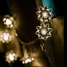 220 В 4 м 20 светодиодный Цветок лотоса лампы гирлянды сказочные огни для внутреннего и наружного свадьбы/Рождественские вечерние/гирлянды патио украшения